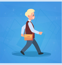 Boy pupil walking to school schoolboy small vector