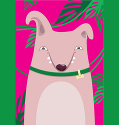 Bull Terrier in green leaves on a pink background vector image