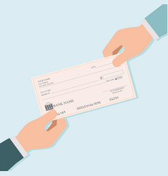 Businessman hand giving blank bank checks or vector