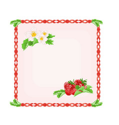 Button strawberries with leaves and flowers vector image