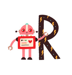 Capital letter r childish english alphabet with vector