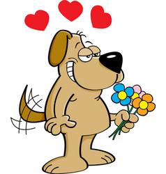 Cartoon dog holding flowers vector image