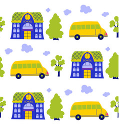 cartoon school building yellow bus pattern vector image