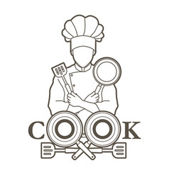 chef and cook font design with pan and spatula vector image