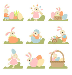 collection of cute bunnies with colorful eggs vector image