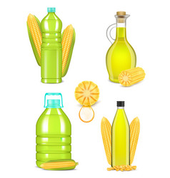 corn oil bottle bottle set realistic vector image
