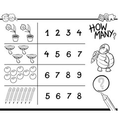 Counting game coloring page vector