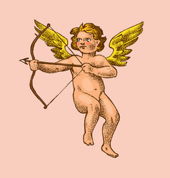 Cute angel with arrows and bow small aesthetic vector