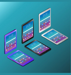Digital tablets with working screens in isometry vector