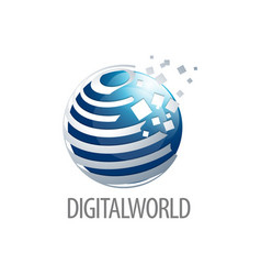 digital world sphere logo concept design three vector image