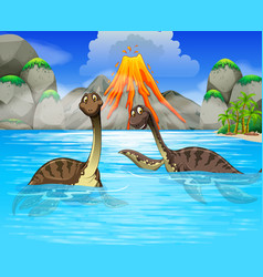 Dinosaurs swimming in the lake vector