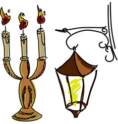 drawn colored candles vector image