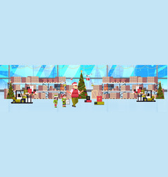 elves couple helpers santa claus working vector image