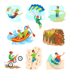 Extreme sports bungee jumping and rafting in boat vector