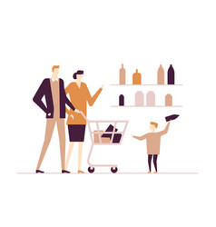 Family shopping - flat design style colorful vector