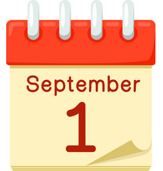 First of September date on calendar vector