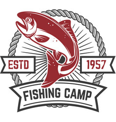 fishing camp emblem template with salmon fish vector image