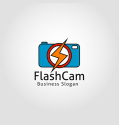 flash camera - speed shot photography logo vector image