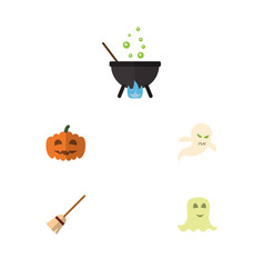 Flat icon halloween set of gourd magic spirit vector