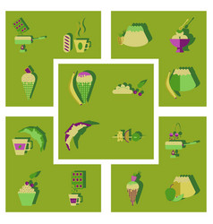 Flat icons collection with shadow sweet fastfood vector