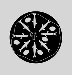 Flat in black and white pizza with anchovies vector