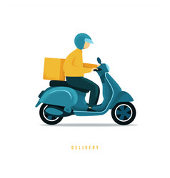 food delivery man riding a blue scooter man vector image