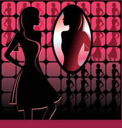 Girl in front mirror vector