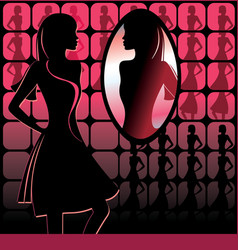 Girl in front of mirror vector