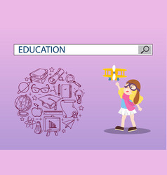 Girl playing with toy and education search engine vector