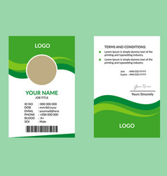 green awesome id card 12 vector image
