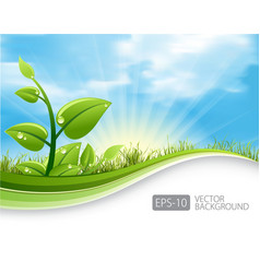 Green leaves ecology background vector