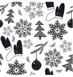 hand drawn christmas new year winter vector image