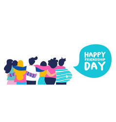 Happy friendship day banner of big friend group vector