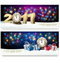 Happy new year background with presents vector