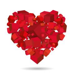 heart cubes 3d geometric isometric vector image