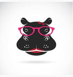 Hippo wearing glasses on white background animal vector