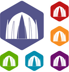 Human house icons hexahedron vector