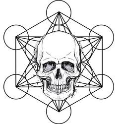 human skull over sacred geometry symbol demon vector image