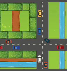 Intersection with a lot cars vector