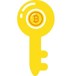 isolated bitcoin inside key design vector image