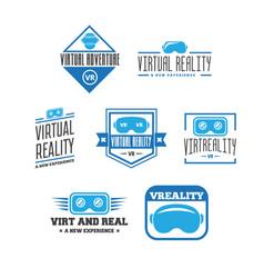 isolated vr headset logotype set virtual reality vector image