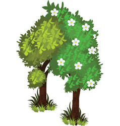 Isometric cartoon bushy green trees web element vector