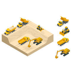 Isometric excavators and bulldozers dig a pit on vector