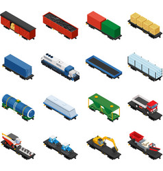 Isometric set railway trains vector