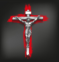 jesus christ the son of god crucified on a vector image