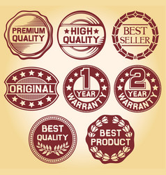 Labels and rubber stamp vector