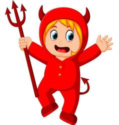 Little kids in halloween red devil costume vector