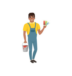 male painter in uniform standing and holding vector image