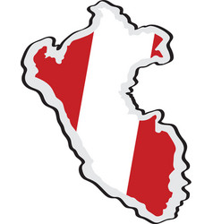 map of peru with its flag vector image