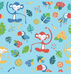 Meditating monkeys and toucans blue pattern vector